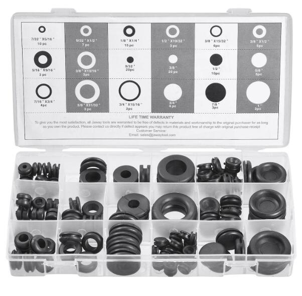 125 Pcs Rubber Grommet Firewall Hole Plug Electrical Wire Gasket Assortment Kit Fast Color