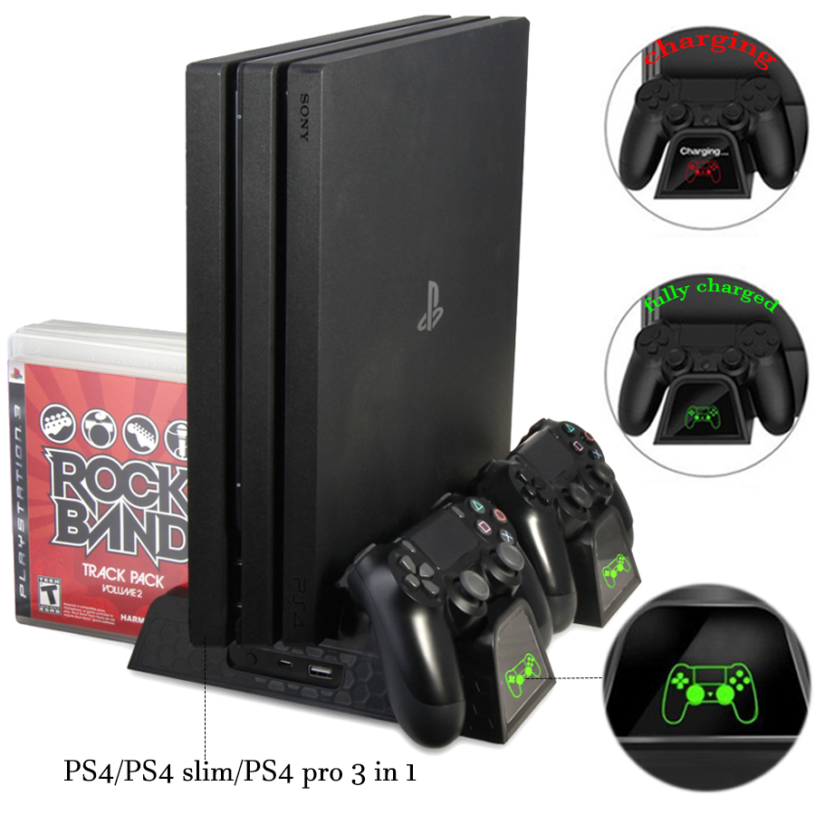 DOBE PS4/PS4 Slim/PS4 PRO Vertical Stand with Cooling Fan Cooler Dual Controller Charger Charging Station for SONY Playstation 4