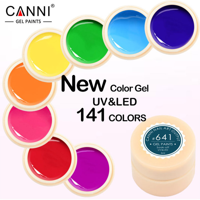 CANNI Gel Lacquer 5ML 141 Pure Colors UV Gel Manicure DIY Nail Art Tips Gel Polish Design 50618 Varnish Color Nail Painting Gel