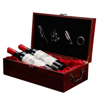 Europe style Handmade Wooden Red Wine Racks Handle Wine Box Home Kitchen Bar Accessories Wine Holder Craft For Friend Gift Boxes