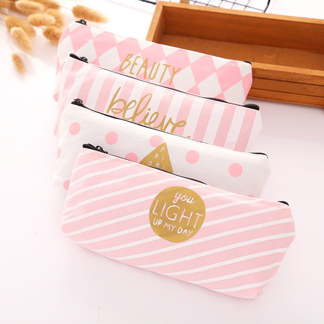 FangNymph Kawaii Pink Stripe Case Canvas Pencil Bag School Supplies Stationery Material Pencil Case 20*8*4cm Girl Pencil Bag