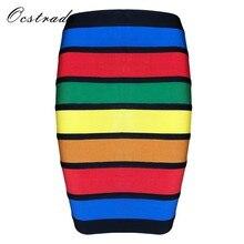 39ca43f6d5 Stock limitado! ocstrade verano moda Faldas colecciones! mujeres colorido  vendaje mini falda 9 estilos