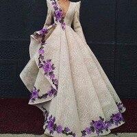 Роскошные вечерние платья Вышивка халат de soiree Abendkleider Ливан вечерние платья длинный рукав длинное вечернее платье Кружева v образный вырез