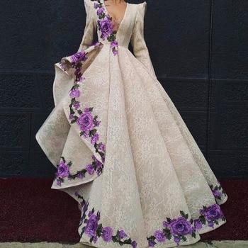 98e4a3b8f75 Роскошные вечерние платья Вышивка халат de soiree Abendkleider Ливан  вечерние платья длинный рукав длинное вечернее платье Кружева v-образный  вырез