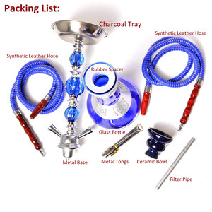Image 5 - Middle Size Double Hose Glass Hookah Travel Shisha Pipe Set Chichas with Narguile Ceramic Bowl Charcoal Tongs Bar Accessories