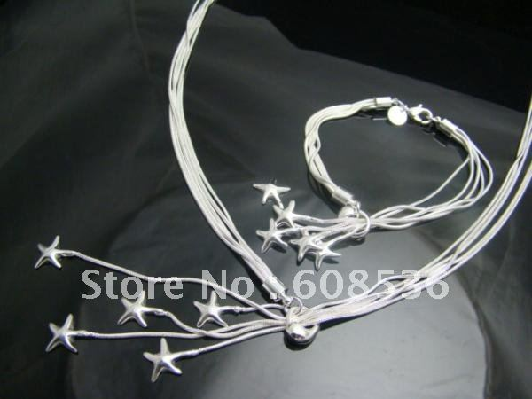 fashion jewelry, Silver plated Necklace & bracelet, FIVE Starfish S71