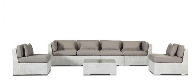 Modern Outdoor Furniture Sofa Patio 7 Piece Set, White WickerGrey