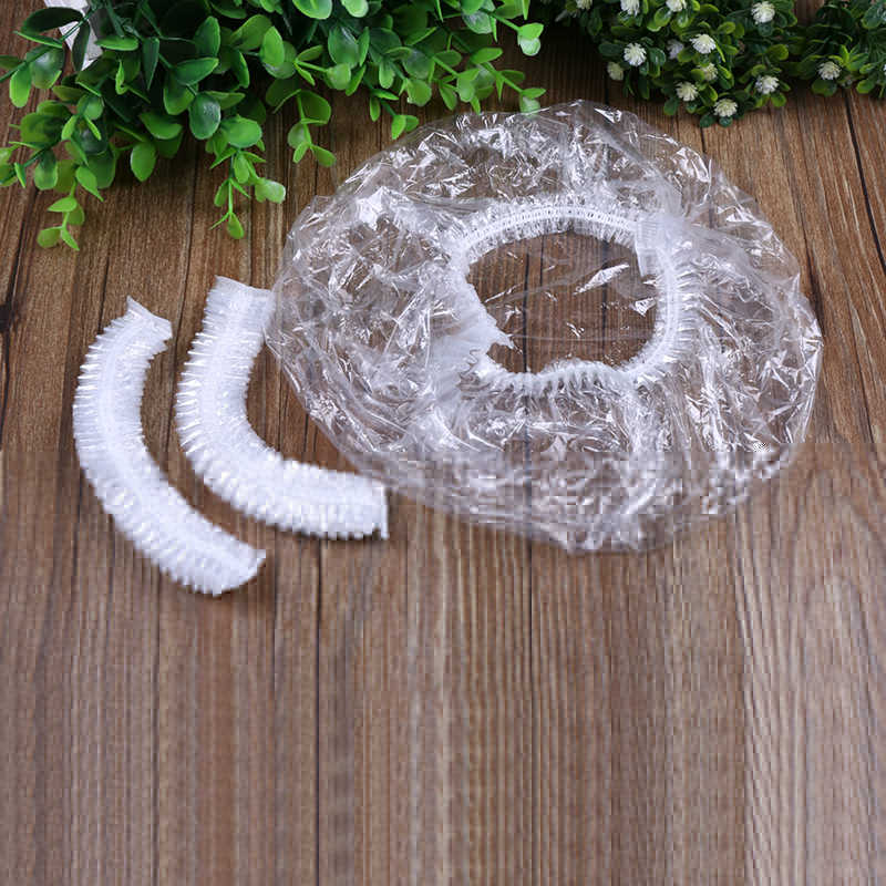 20pcs Disposable Hat Hotel One-Off Elastic Shower Bathing Cap Clear Hair Salon Bathroom Products