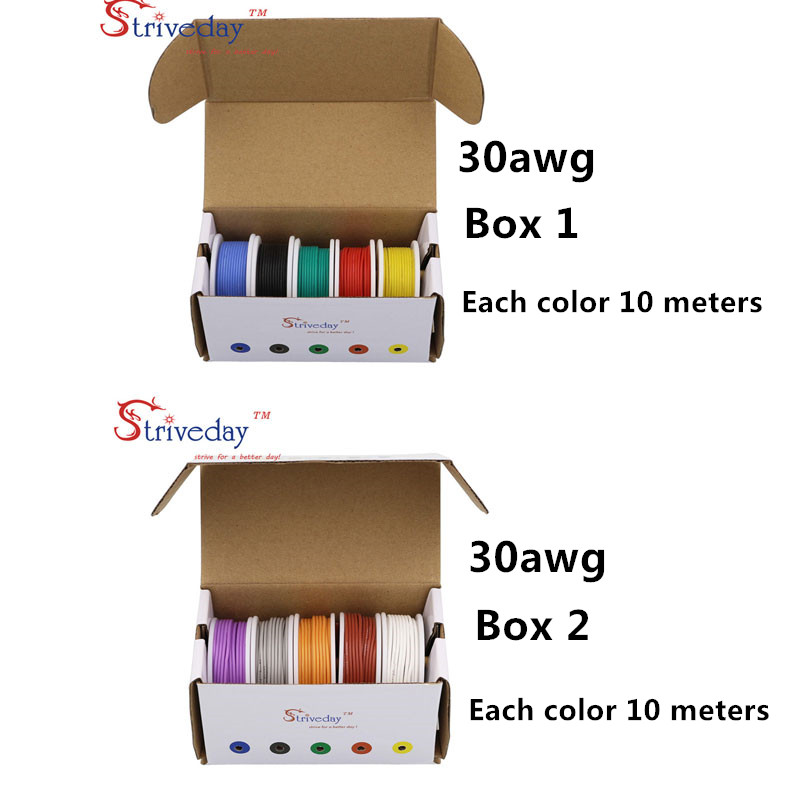 100 m( 10 colors Mix box 1+box 2 Stranded Wire Kit) 30AWG Flexible Silicone Rubber Wire Tinned Copper line 32.8 feet each colors цена