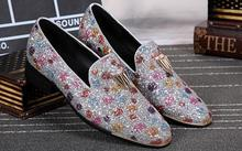 Luxury Men Male Loafers Stone Studded Shoes Bling Loafer Glitter Mens Smoking Slippers Leisure Flats Dress