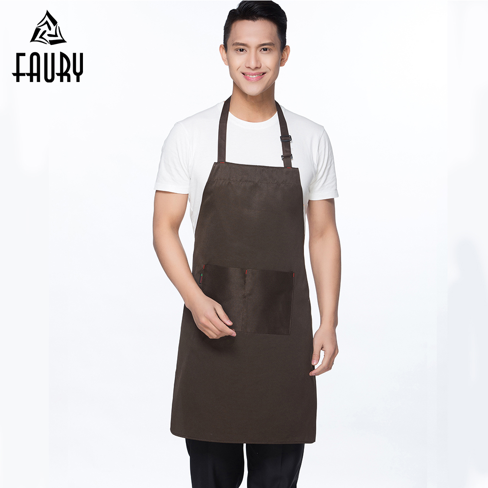 LOGO Customize Aprons Pure Color Adjustable Kitchen Workwear Aprons Chef Restaruant Food Service Waiter Uniforms Apron Women Men