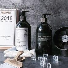 Бутылка для шампуня для ванны, 500 мл, черные пластиковые бутылки для хранения, дорожная портативная бутылка для мытья рук, скандинавский органайзер, банка