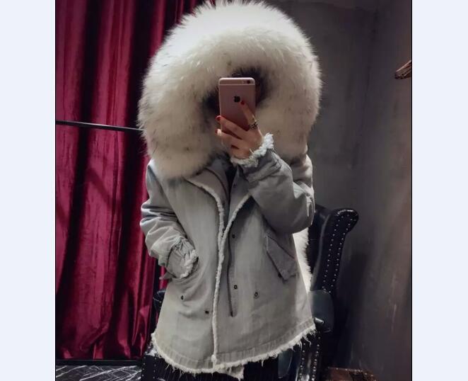Promotion Real Big Raccoon Dog Black Tip White Fur Collar font b Women b font Jeans