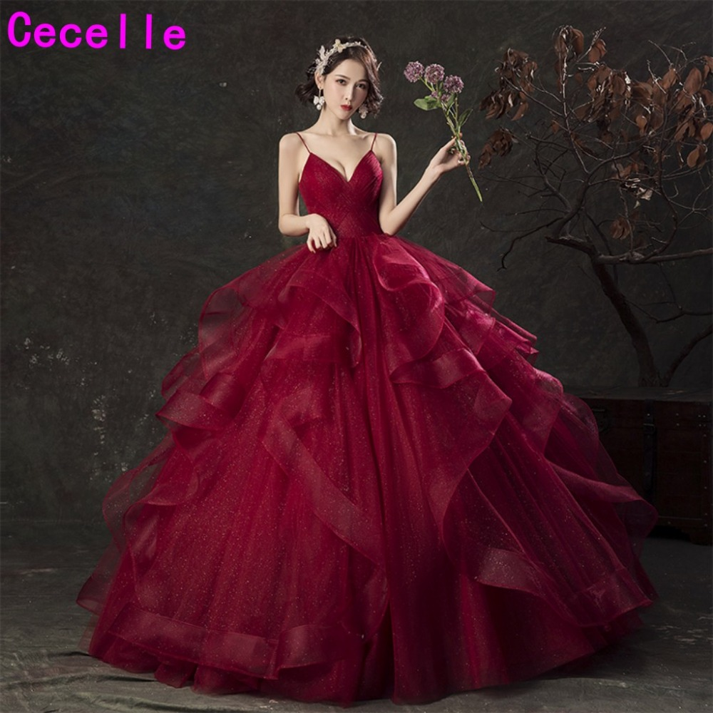 Dark Red Burgundy Ball Gown Princess   Prom     Dresses   2019 With Straps V Neck Pleats Ruffles Floor Length Teens Formal Party Gowns