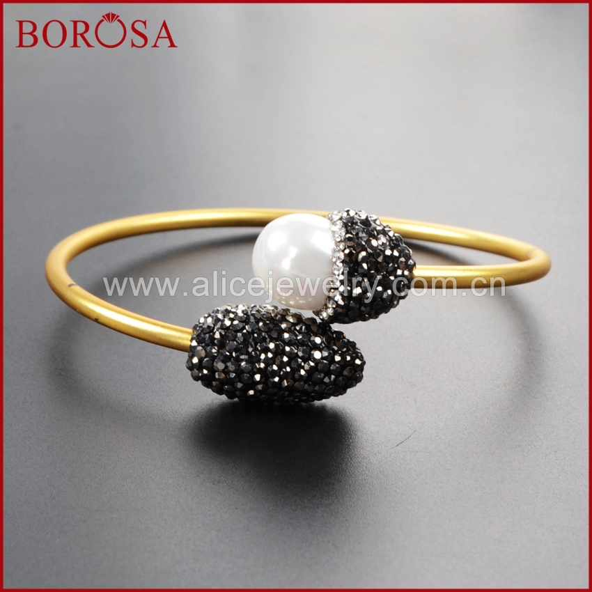 BOROSA natural pearl copper cuff bangle, handcrafted pave cz gold bangle adjustable soft gems jewelry druzy for women JAB436