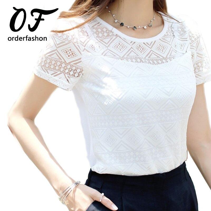 Original Women Lace Blouse Summer Casual Stitching Short Sleeved Ladies Blusas
