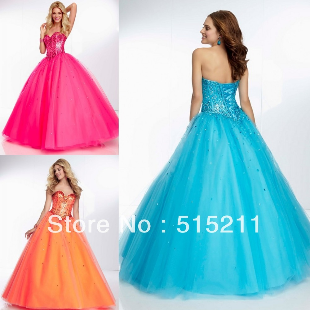 Ball gown prom dresses 2014 - American Style Sequin Sweetheart Pink Orange Blue Tulle Ball Gown Prom Dresses Sweet 16 Quinceanera Party Gowns 2014 In Prom Dresses From Weddings Events