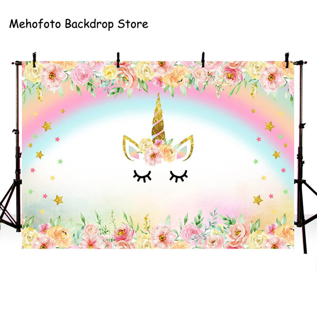 Mehofoto Unicorn Backdrop Birthday Party Background Newborn Baby Shower Backdrops for Photo Shoot Vinyl Cloth Seamless 863