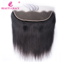 Beauty Grace Brazilian 13x4 Ear To Ear Pre Plucked Lace Frontal Closure Straight With Baby Hair