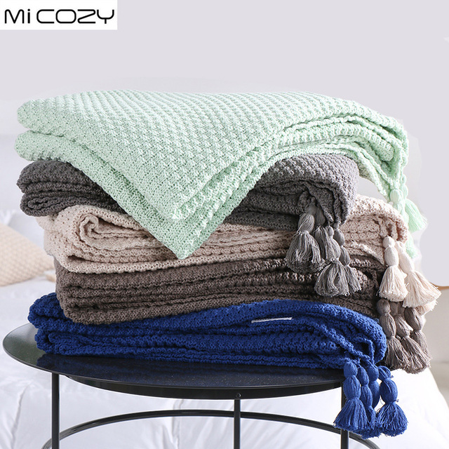 Cotton Knitting Decoration Blanket Concis Modern Nap Sofa Throw With Tels Color Crystal Blue