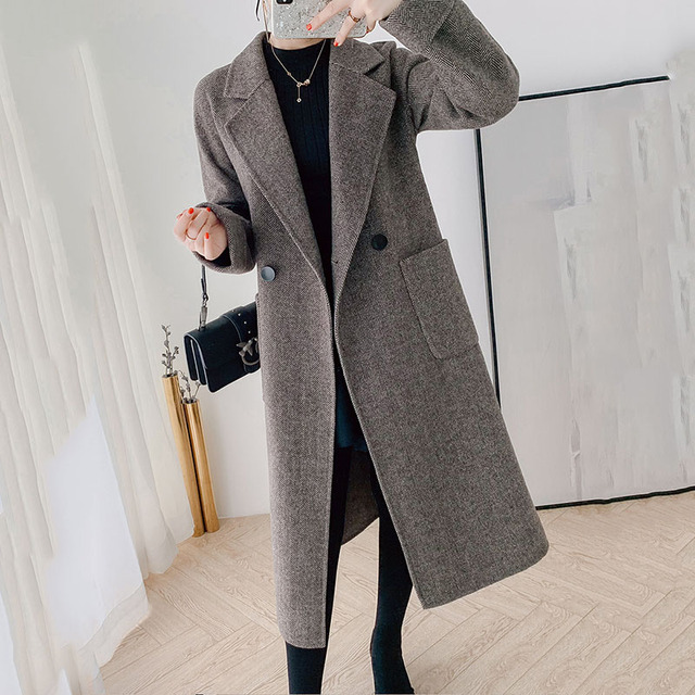 High quality double-faced cashmere coat women's long trench coat 2019 new wool blends outerwear female winter woolen windbreak 5