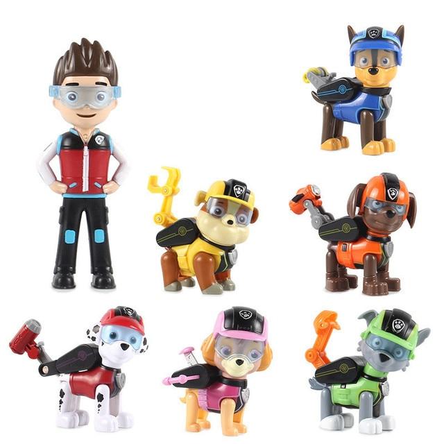 7 pçs/set Patrulha Pata Do Cão Filhote de Cachorro Carro de Patrulha Canina Patrulha Figuras de Ação Brinquedo da boneca de vinil Brinquedos Presentes Das Crianças Dos Miúdos