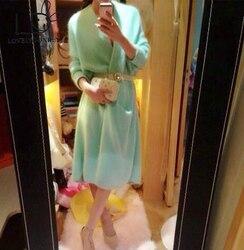 LOVELYDONKEY nertsen kasjmier trui vrouwen pure kasjmier vest gebreide jas mode winter lange haar jas gratis verzending M426