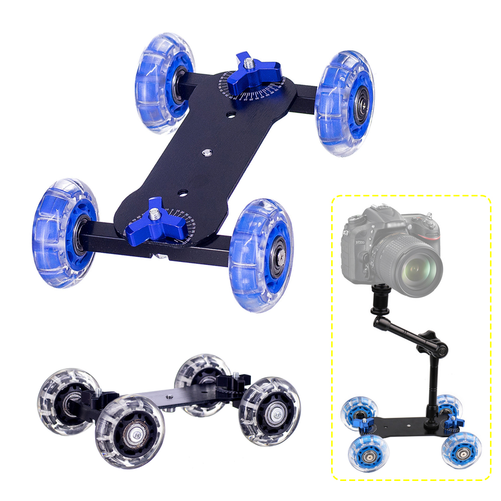 Schreibtisch Dolly+11 inch Magic Arm Tabletop Mobile Rolling Video Rail Skater for SLR Camera Slider Dolly Car Track & Magic Arm image