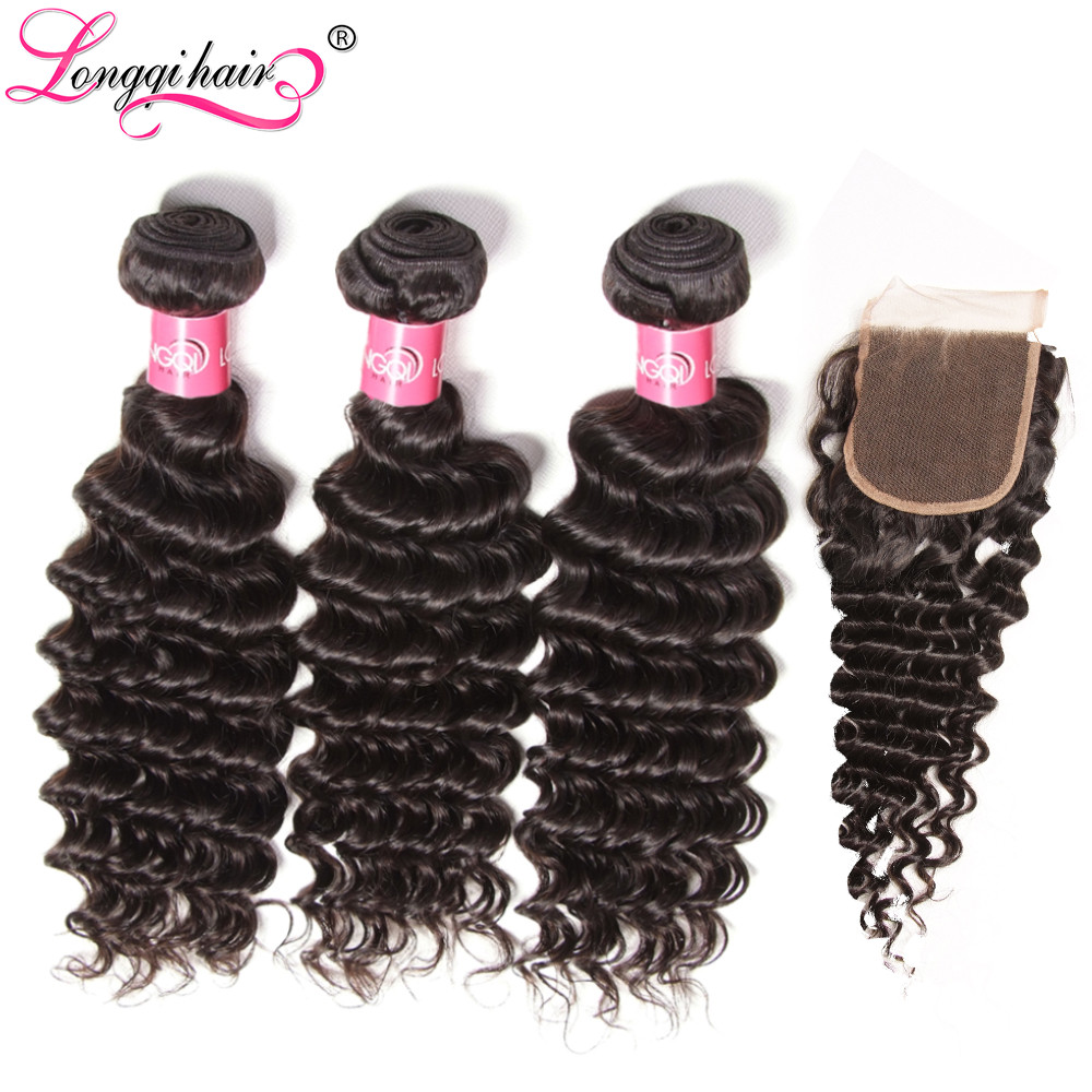 Longqi Cambodian Deep Curly Hair Bundles With Closure Free Part 4 PCS LOT Remy Hair Lace