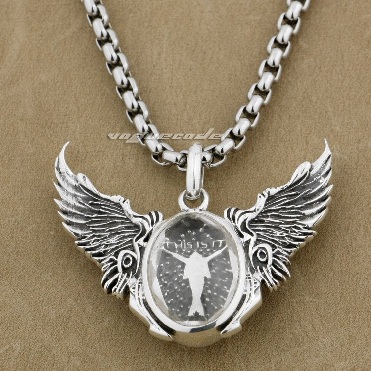 925 Sterling Silver Angel Wing CZ Covered Dancer Fashion Pendant 8J014