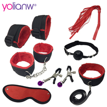 Erotic Toy 7pce Set sex Bondage Restraint sexy toys Adult Games Handcuffs Nipple Clamp Whip Collar