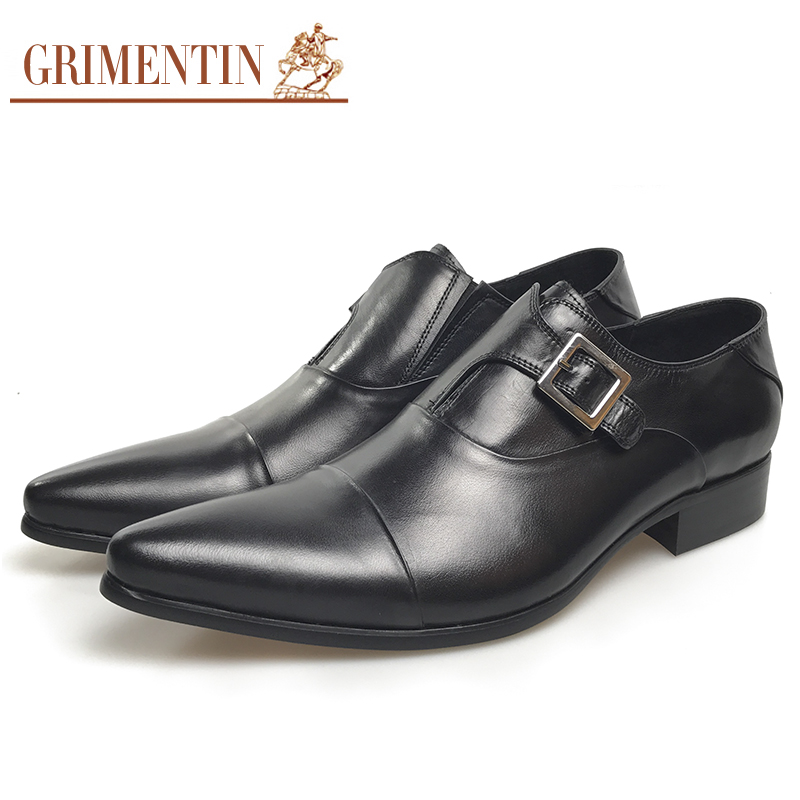GRIMENTIN Men Formal Shoes Genuine Leather Italian Designer Classic Mens Oxfords Pointed Toe Dress Wedding Flats For Male grimentin fashion genuine leather mens dress shoes italy designer carved top quality cowhide men shoe flats for wedding business