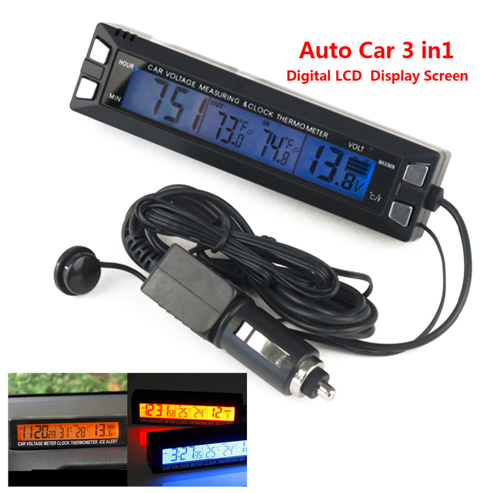 Digital LCD Clock Car Thermometer Battery Voltage Monitor 3 in 1 12V/24V Auto Thermometer Voltmeter Temperature Gauge electric racer car battery voltmeter gauge black silver dc 12v