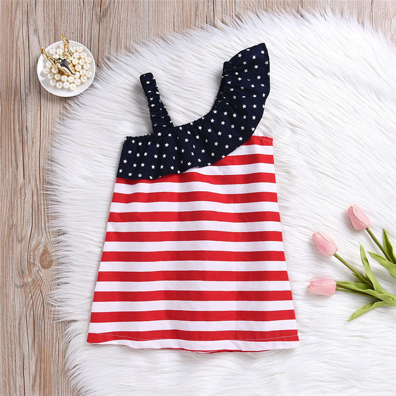 HTB1dqEgKeGSBuNjSspbq6AiipXah - Baby Girls Infant Kids 4th Of July Star Dress Clothes Sundress Casual Sets T#