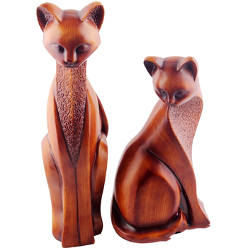 Europe Style Couple Wood Cat Lovers Figurines Resin Crafts Office Cute Cats Model Figurine Home Decoration Accessories Toy Gifts