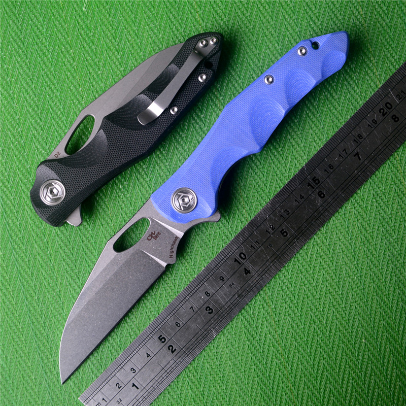 Tools : LATEST CH Nighthawk Folding Knife D2 Blade Black or Blue G10 Handle Pocket Knife Camping Survival Tactical Knives