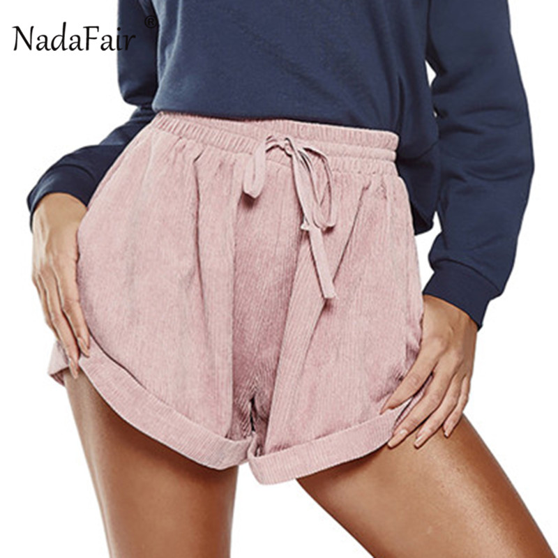 Nadafair Corduroy High Waist Summer Shorts Women Drawstring Solid Casual Shorts