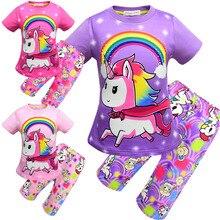 Купить с кэшбэком 2019 New unicorn pajamas for girls short-sleeved suit for girls round-neck T-shirt for home wear