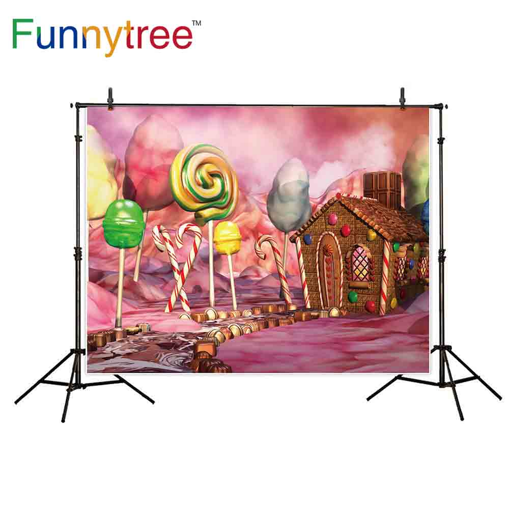 Candyland Chocolate Factory Christmas Party.Funnytree Photography Backdrops Fantasy Candy Land Chocolate