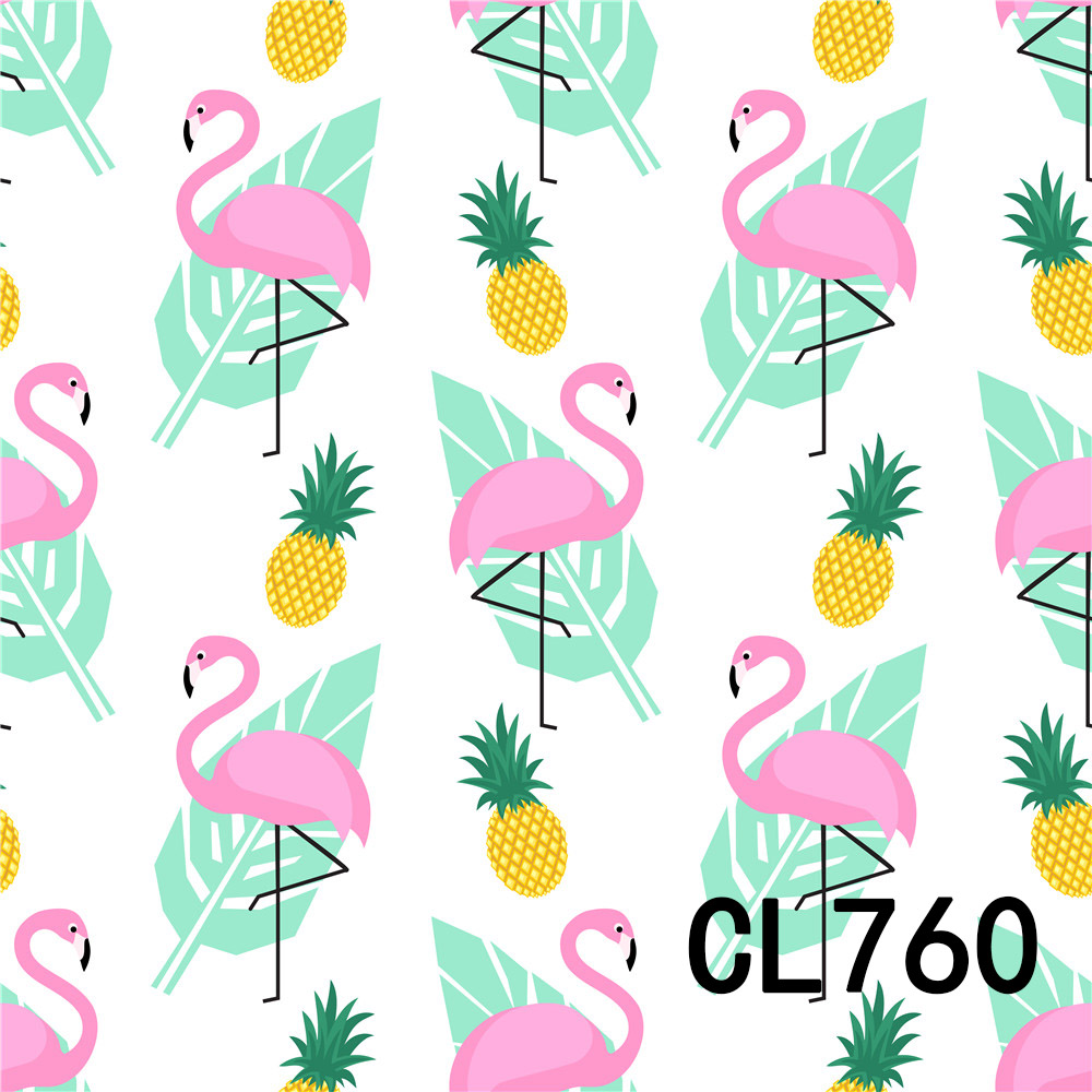 6.5x6.5ft Cartoon Pastel Color Tone Leaves Flamingos Illustration Polyester Photography Background Summer Party Backdrop Personal Portrait Shoot Wallpaper YouTube Banner Studio Props