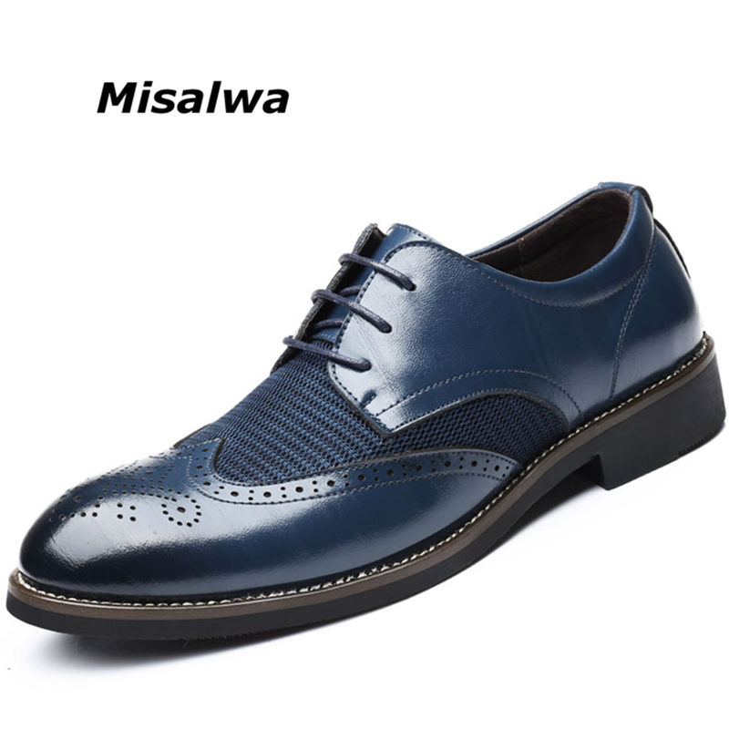 Formal Shoes Popular Brand Misalwa Dropshipping Summer Mesh Spring Leather Dress Shoes Breathable Men Formal Business Oxfords Plus Size 38-48 For Sale To Be Highly Praised And Appreciated By The Consuming Public