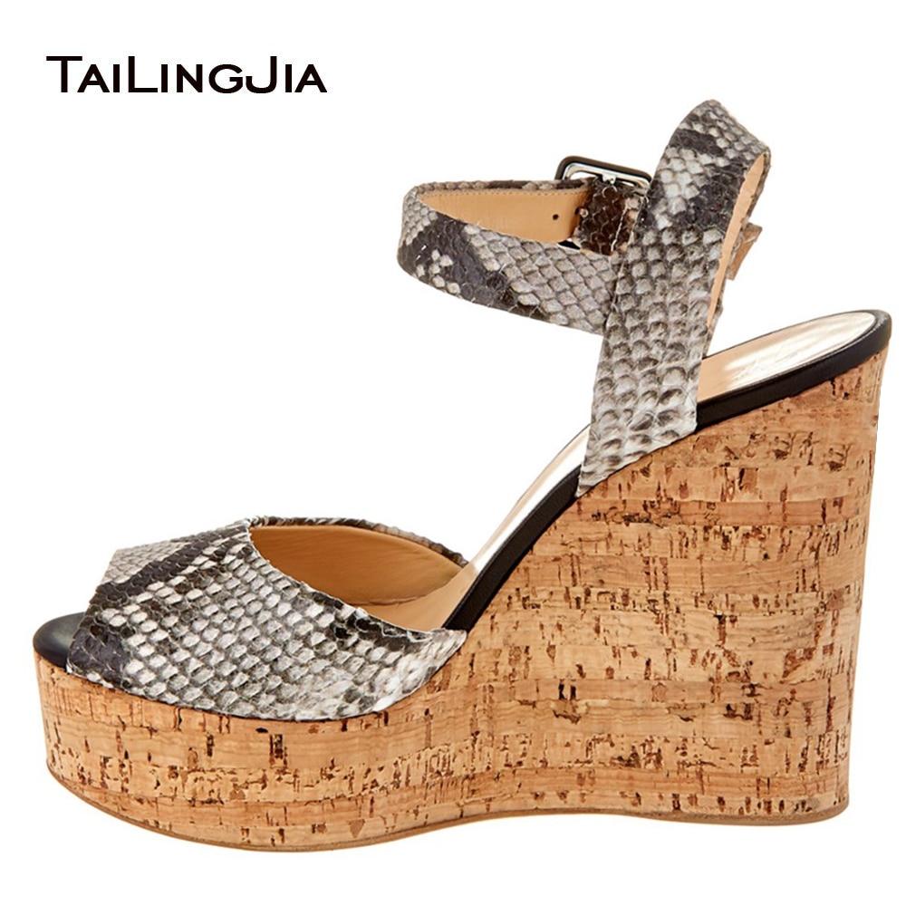 39fd36804d91 Women s Brown Python Look Cork Wedge Sandals Snake Embossed Peep Toe Sky High  Platforms Ladies Summer High Heel Shoes 2018
