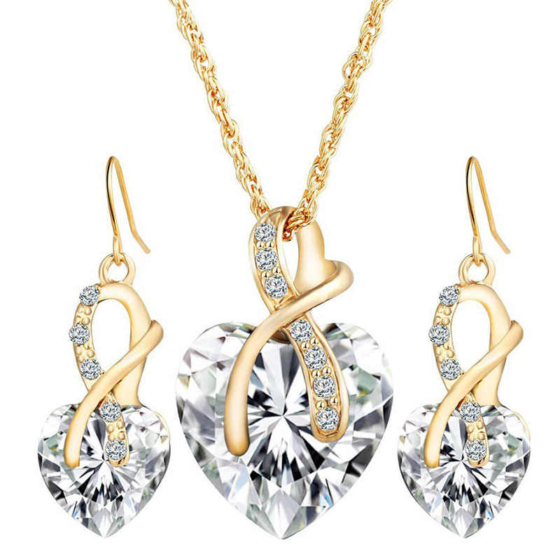 Romantic heart crystal earrings necklace set gold chain jewelry sets wedding jewelry Valentine gift jewellery sets for women J35