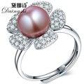 Хороший Природный Камень Пресноводные Фиолетовый/Розовый/Белее Pearl Ювелирные Изделия Стерлингового Серебра 925 Кольца высокий блеск регулируемые кольца