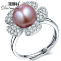 Good Natural Stone Freshwater Purple/Pink/Whiter Pearl Jewelry 925 Sterling Silver Rings high luster adjustable rings