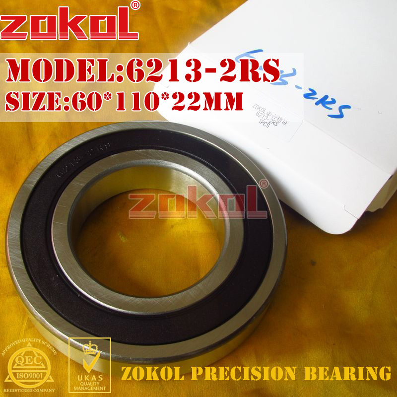 ZOKOL 6213RS bearing 6213 2RS 180213 6213-2RS Deep Groove ball bearing 60*110*22mm zokol 6411rs bearing 6411 2rs 180411 6411 2rs deep groove ball bearing 55 140 33mm