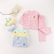 Осенняя одежда для новорожденных одежда с длинными рукавами и v-образным вырезом из чистого хлопка с принтом эластичные штаны повседневное нижнее белье для мальчиков и девочек