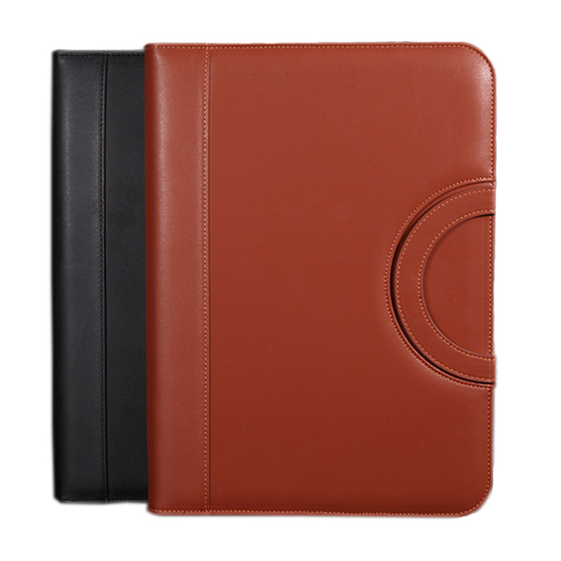 PU leather padfolio organizer with handle. Professional multifuntional Business Zipper Folder gifts Black Brown(China)