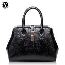 Yirenfang Genuine Leather Bag For Women Shoulder Bags Retro Flowers Big Fashion 2018 New Designer Famous Brand Ladies Handbags