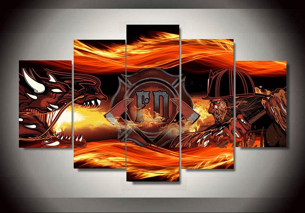 Высокое качество 5 панелей Домашний Декор пожарного стены Книги по искусству живопись для Гостиная без рамы